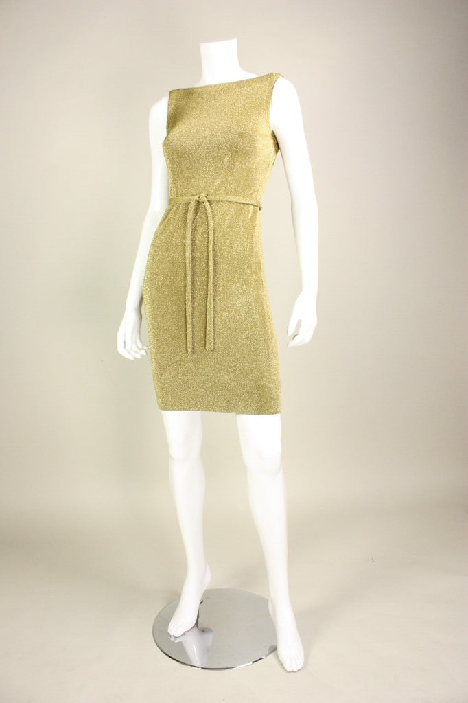 Vintage 1960's Rudi Gernreich Gold Metallic Knit Dress