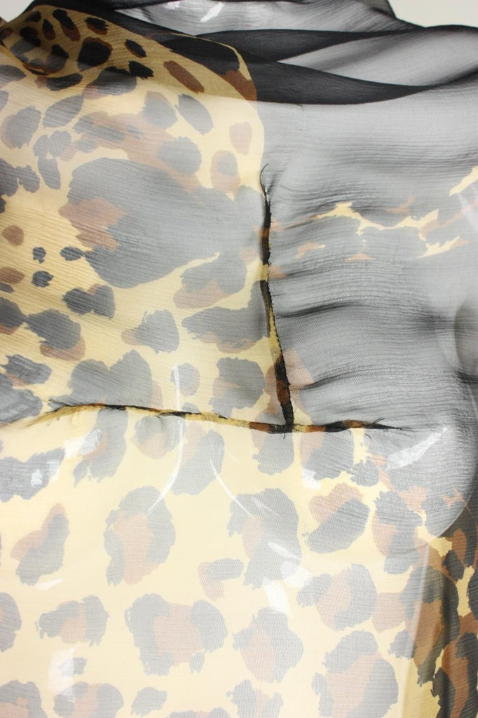 Yves Saint-Laurent Shawl 1980's Chiffon with Leopard Print Vintage - regenerationvintageclothing