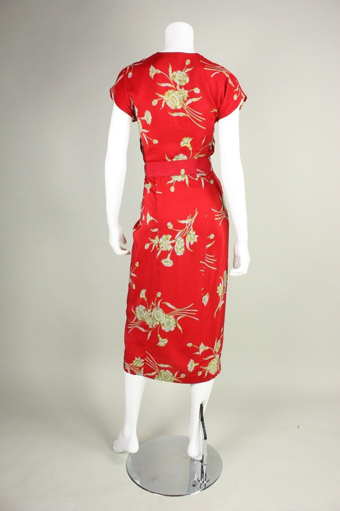 1940's Dress Red Silk Floral with Ruched Detailing Vintage - regenerationvintageclothing