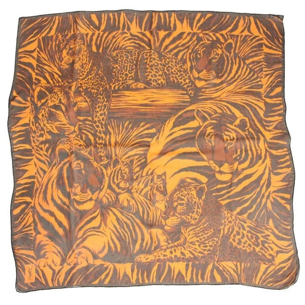 Vintage Clothing: Yves Saint Laurent Chiffon Scarf with Leopard Print