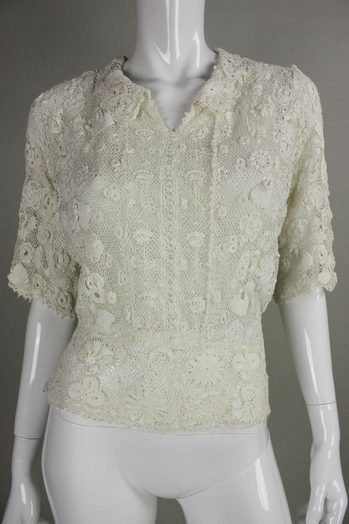 Edwardian Blouse Irish Crochet with Floral Motif Vintage - regenerationvintageclothing