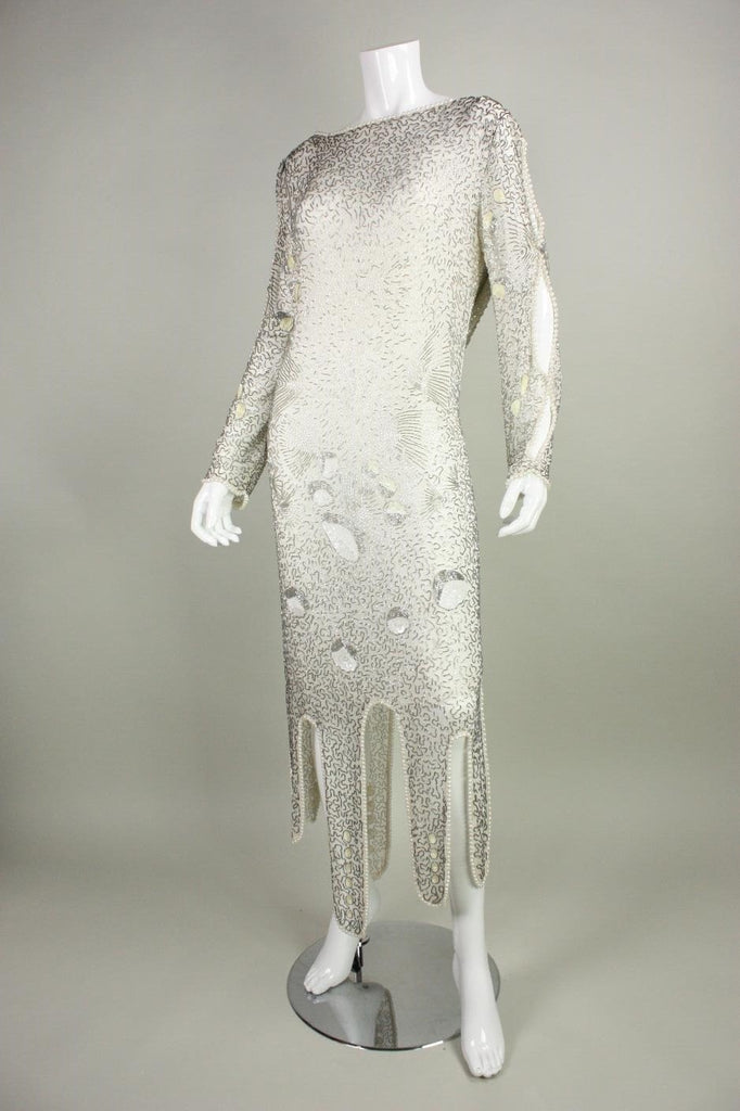 1980's Dress Allover Beaded with Cowl Back Vintage - regenerationvintageclothing