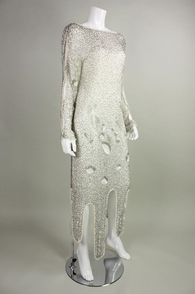 Vintage 1980's Allover Beaded Dress with Cowl Back