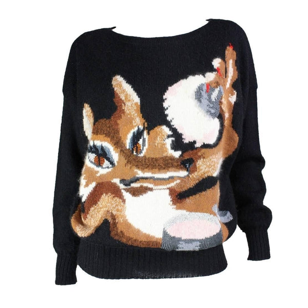 Krizia Sweater 1980's Fox Vintage - regenerationvintageclothing