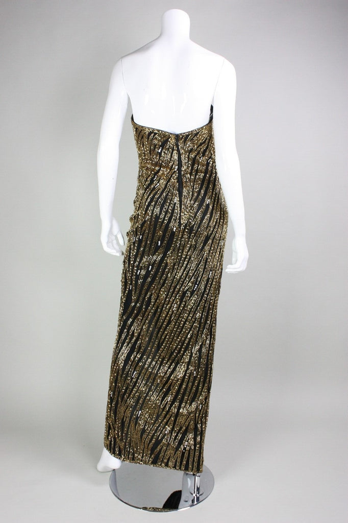 Bob Mackie Gown Strapless Beaded Vintage - regenerationvintageclothing
