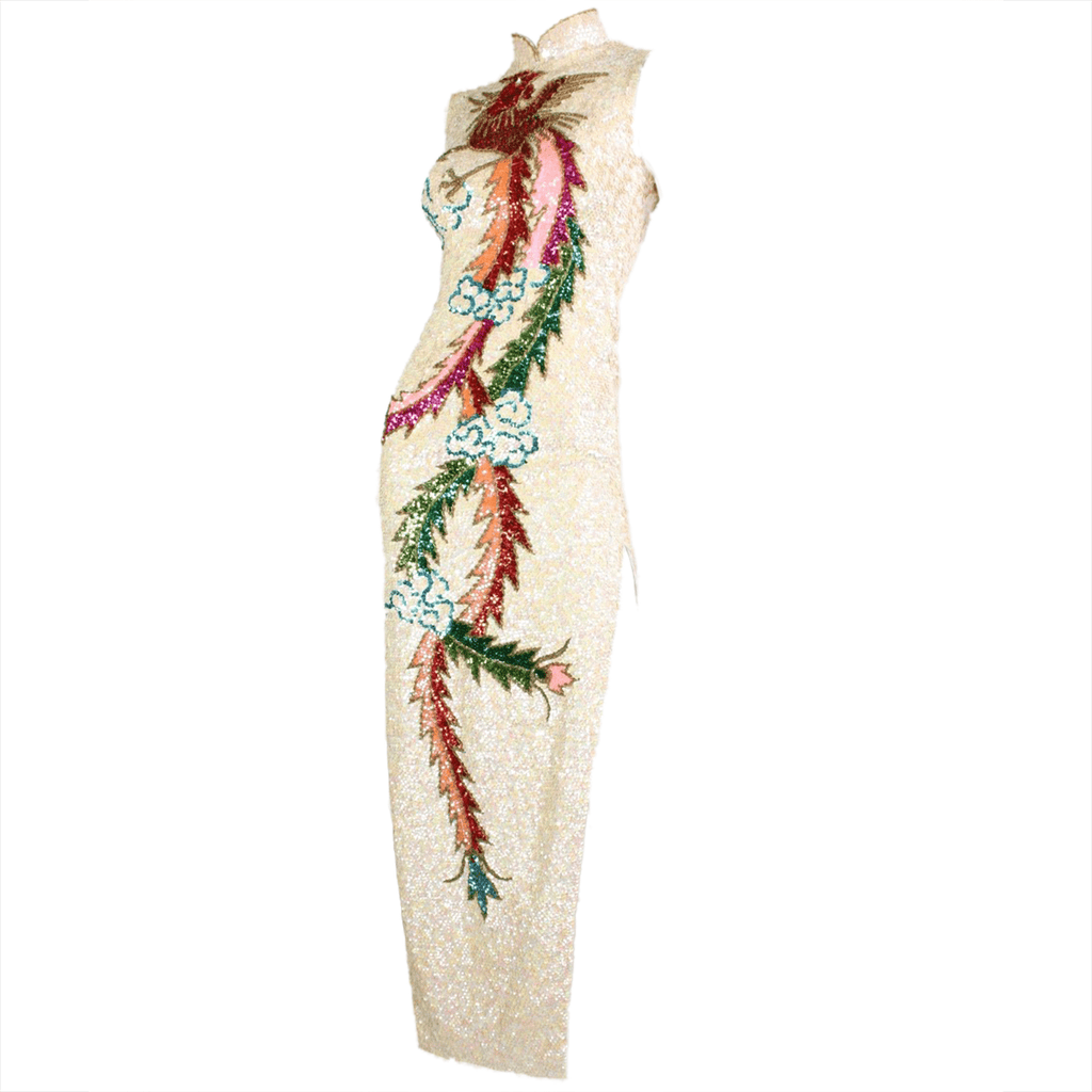 Vintage Clothing: 1960's Fully Sequined Cheongsam Gown