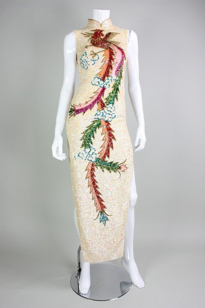 1960's Gown Fully Sequined Cheongsam Vintage - regenerationvintageclothing