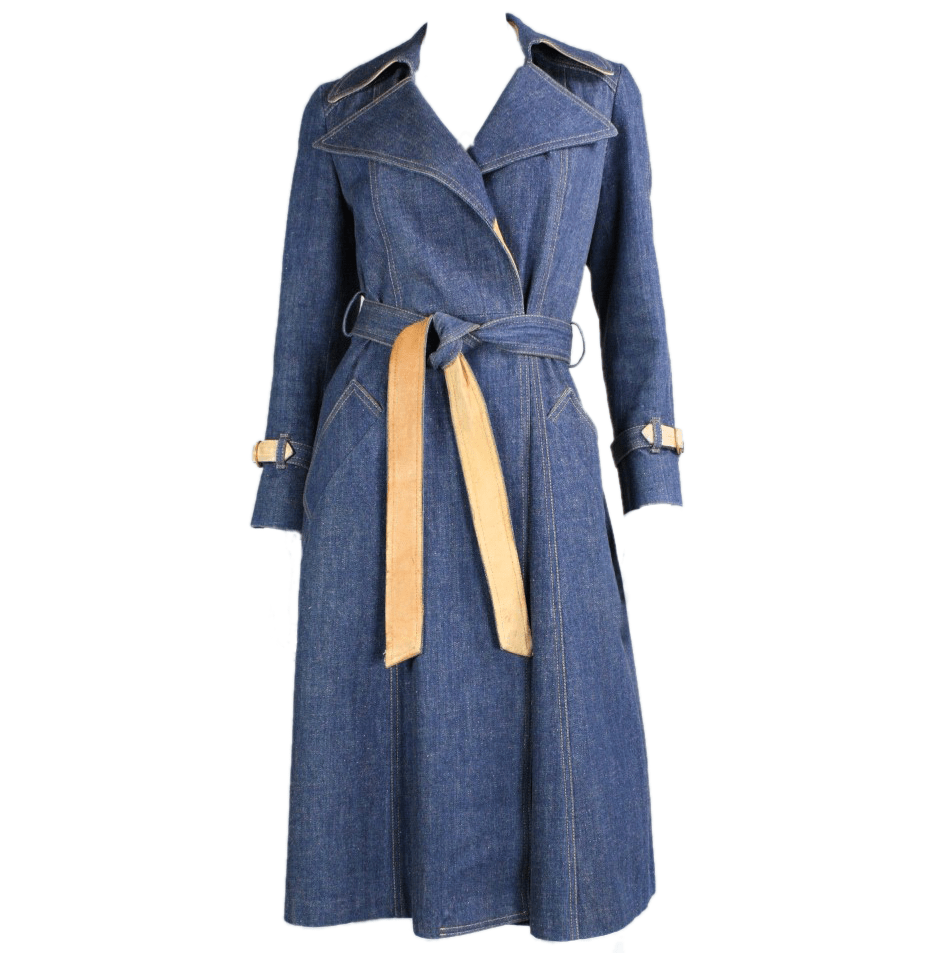 Vintage Clothing: 1970's Denim & Leather Trench Coat by Karen Silton
