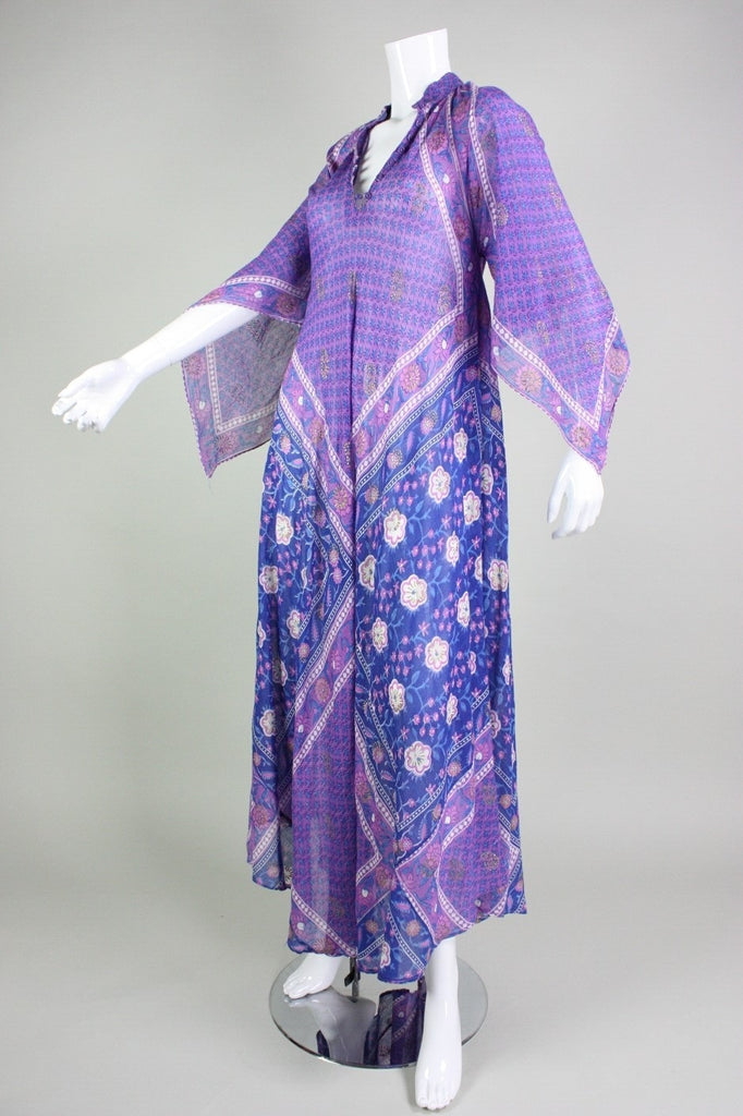 Vintage 1970's Angel Wing Indian Festival Maxi Dress