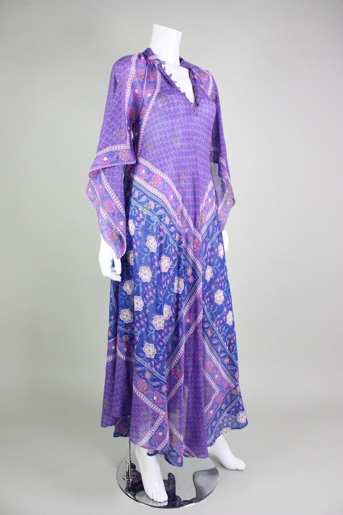 1970's Maxi Dress Angel Wing Indian Festival Vintage - regenerationvintageclothing