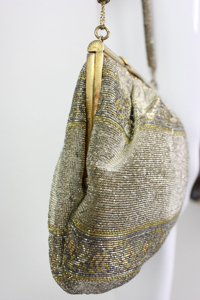 1950's Handbag Metallic Beaded Made in France Vintage - regenerationvintageclothing