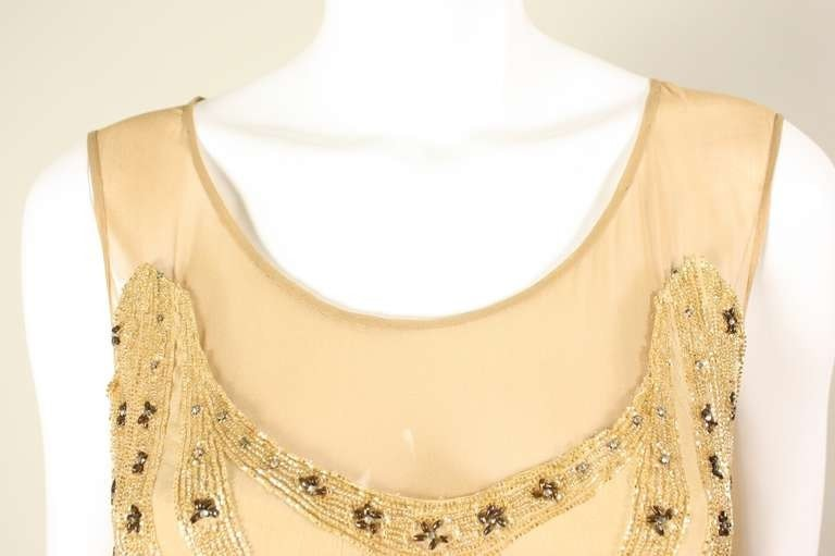 Vintage Dresses - Vintage 1920's Beaded Silk Flapper Dress