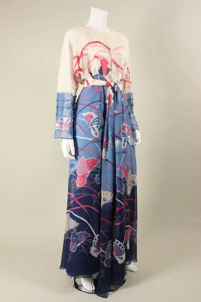 Vintage 1970's Hanae Mori Couture Silk Gown With Pintucks & Chiffon Overlay