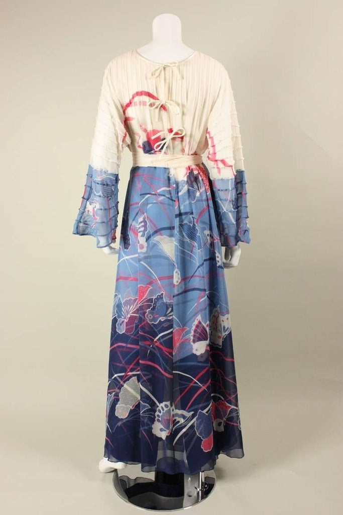Hanae Mori Couture Gown 1970's Silk With Pintucks & Chiffon Overlay Vintage - regenerationvintageclothing