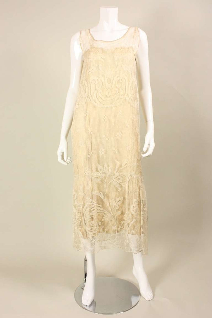 1920's Dress Ecru Filet Lace Sheath Vintage - regenerationvintageclothing