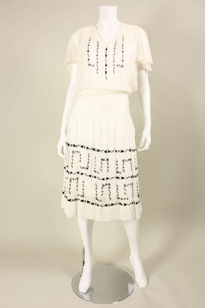 Vintage 1920's Voile Dress With Black Geometric Openwork