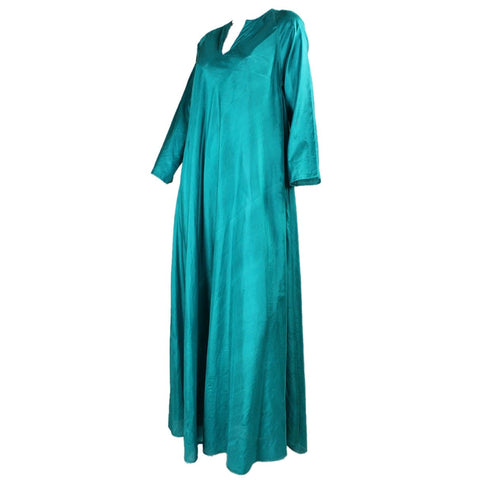 Vintage 1970's Emerald Green Silk Festival Dress