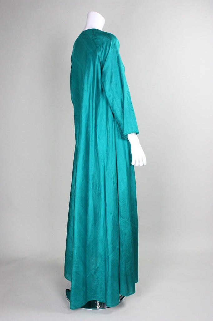 1970's Festival Dress Emerald Green Silk Vintage - regenerationvintageclothing