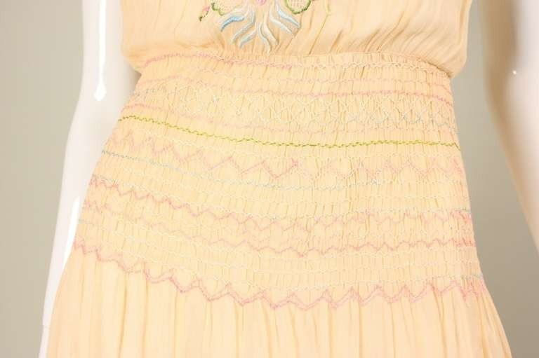 Vintage 1920's Peach Voile Dress With Floral Embroidery & Smocking