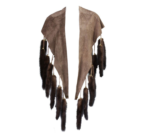 Vintage Clothing: 1970's Suede Cape with Fur Tails