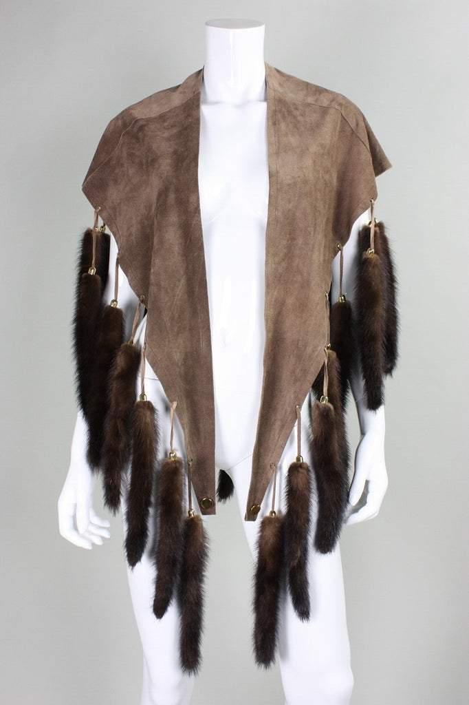 Vintage 1970's Suede Cape with Fur Tails