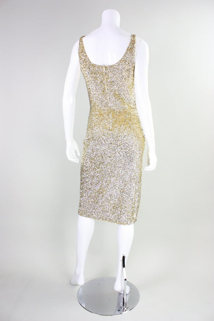Gene Shelly Cocktail Dress Gold Sequined Vintage - regenerationvintageclothing