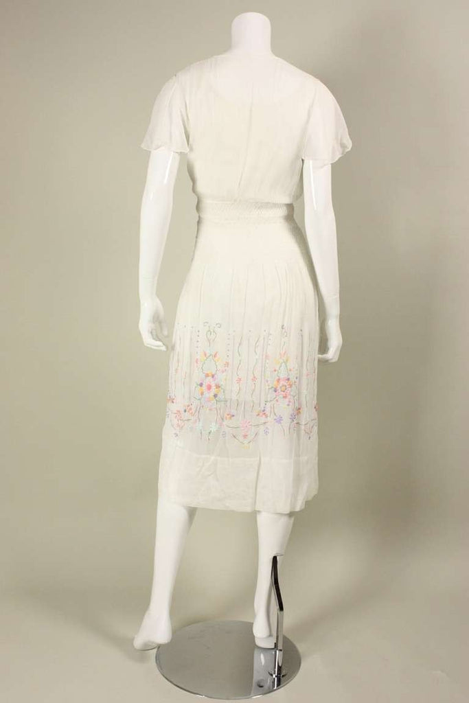1920's Dress Hand-Embroidered Cotton Voile Day Vintage - regenerationvintageclothing