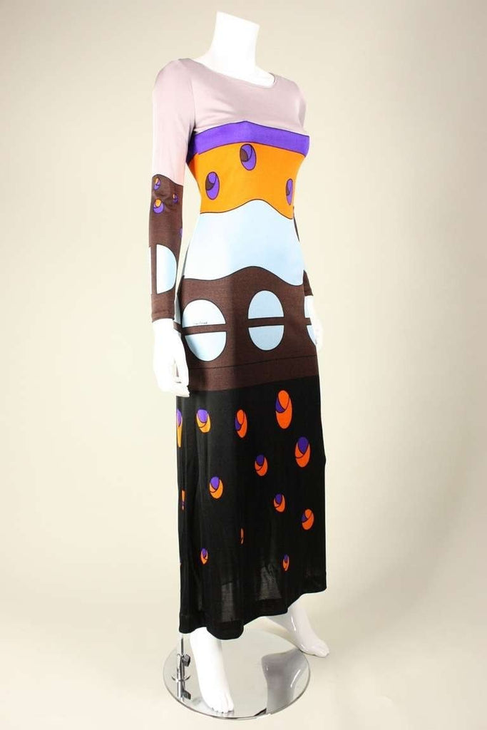 Louis Feraud Gown 1970's Jersey with Geometric Print Vintage - regenerationvintageclothing