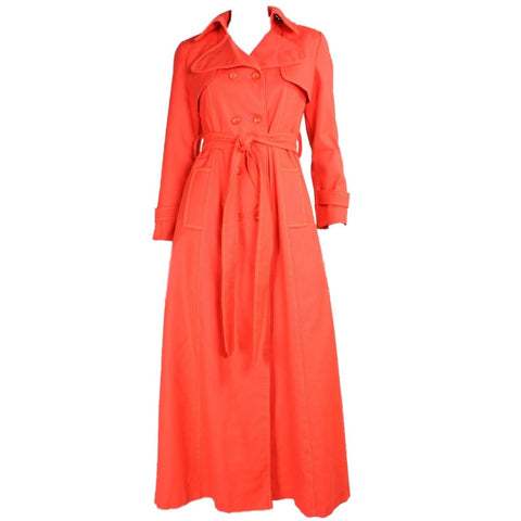 Vintage Clothing: 1970's Bright Orange Double-Breasted Trench Coat