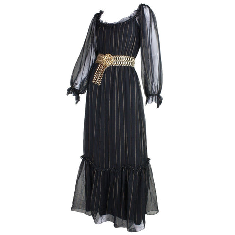 Vintage 1970's Pat Richards Chiffon Maxi Dress