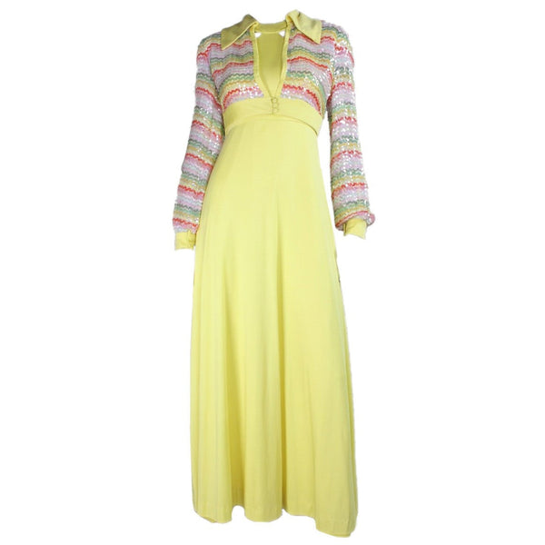 1970's Maxi Yellow with Sequined Bolero Vintage - regenerationvintageclothing