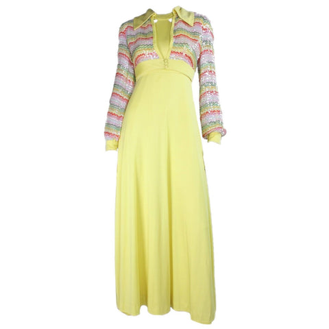 Vintage Dresses: 1970's Yellow Maxi with Sequined Bolero