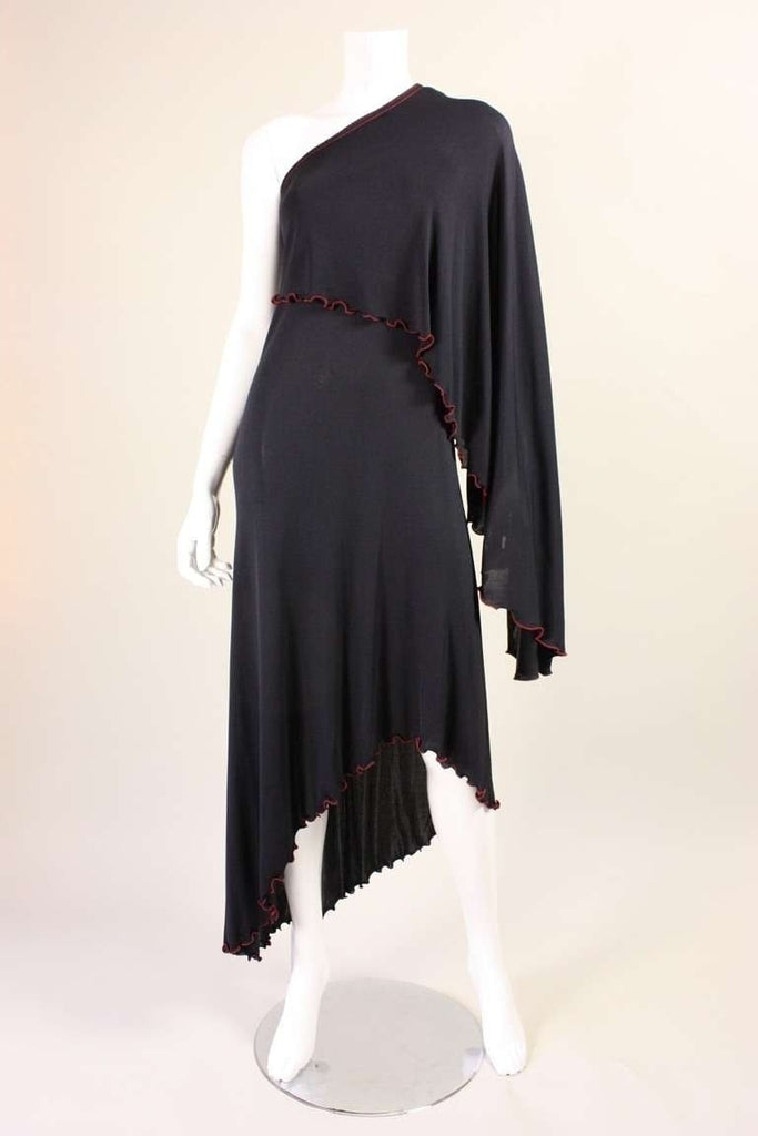 Stephen Burrows Dress 1970's One-Shouldered Jersey Vintage - regenerationvintageclothing