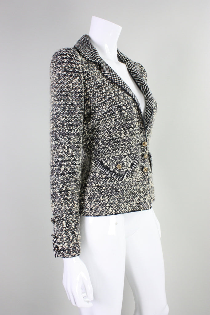 1980's Adolfo Boucle Jacket with Houndstooth Detailing