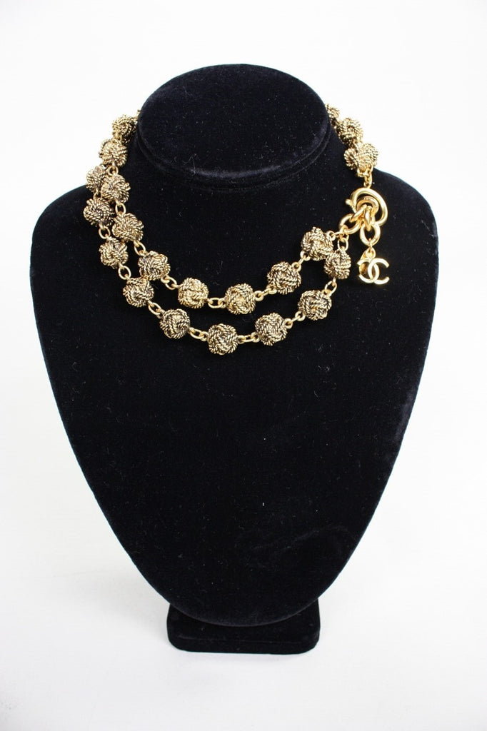 Chanel Necklace Gold-Toned Double-Strand Knot Vintage - regenerationvintageclothing