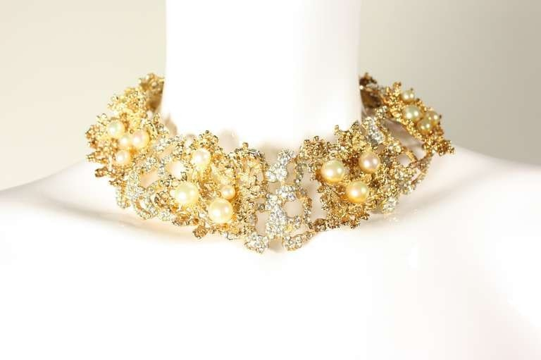 Christian Dior Necklace 1968 with Faux Pearls & Rhinestones Vintage - regenerationvintageclothing