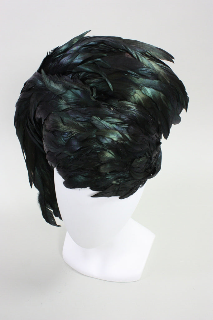 Jack McConnell Hat 1960's Dramatic Sculptural Feather Vintage - regenerationvintageclothing