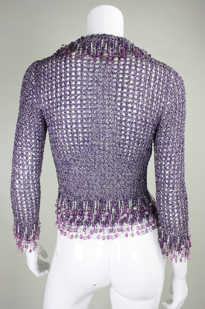 Loris Azzaro Sweater 1970's Metallic Purple with Beaded Trim Vintage - regenerationvintageclothing