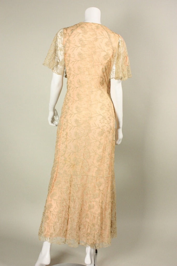 1930's Robe Beige Illusion Lace Vintage - regenerationvintageclothing