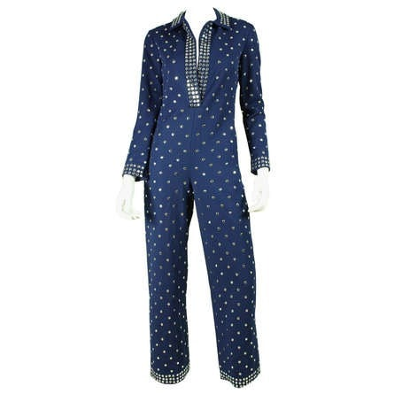 Donald Brooks Jumpsuit 1970's Studded Vintage - regenerationvintageclothing