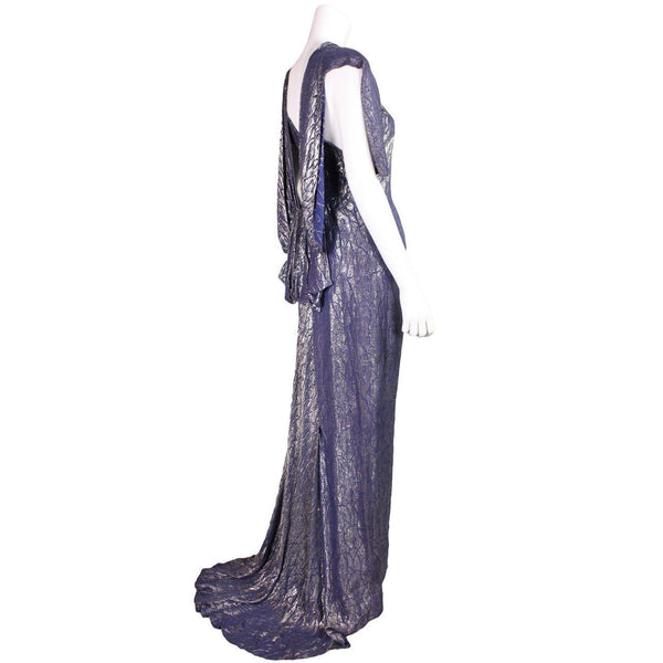 Vintage Dresses: 1930's Art Deco Lame Gown with Train