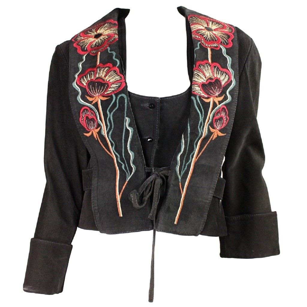 Vintage Clothing: 1970's Bill Gibb Suede Jacket & Vest with Embroidery