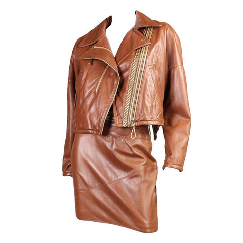 Gianfranco Ferre Suit 1980's Leather with Amazing Hardware Detail Vintage - regenerationvintageclothing