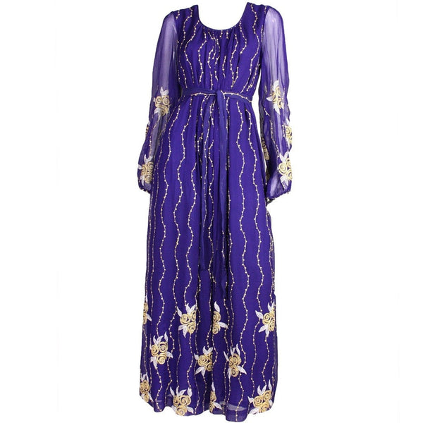 Raksha Maxi Dress 1970's Silk Chiffon Embroidered Vintage - regenerationvintageclothing