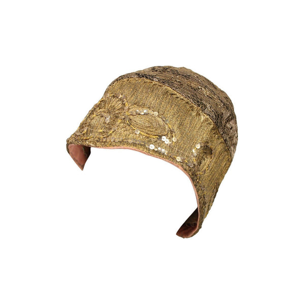 Vintage 1920's Metallic Lace & Gold Bullion Cloche