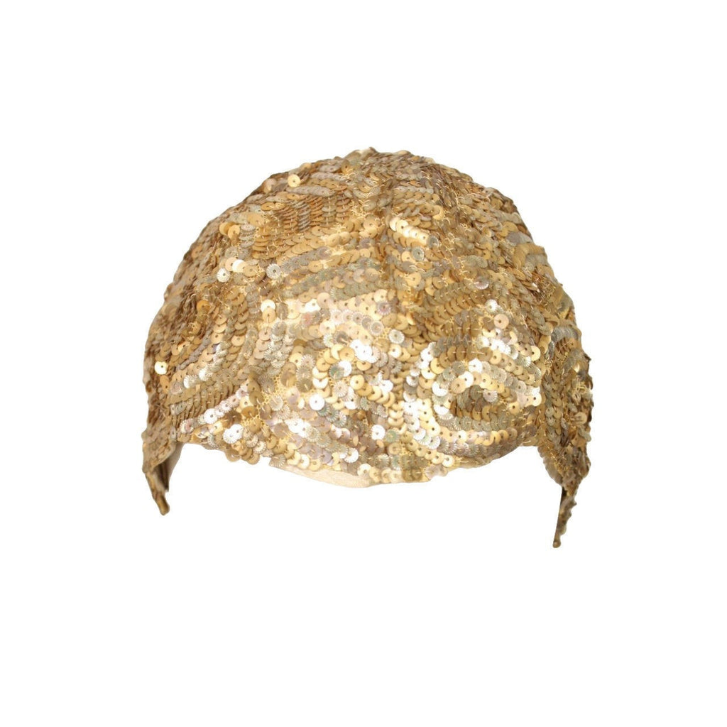 Vintage Clothing: 1930's Skull Cap Encrusted with Gold Sequins