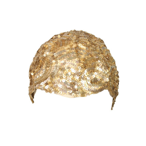 Vintage 1930's Skull Cap Encrusted with Gold Sequins