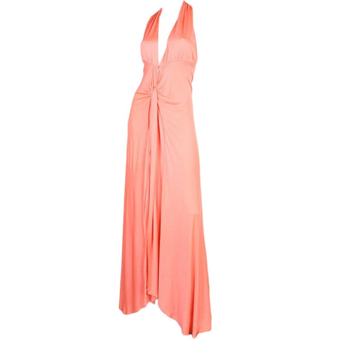 Holly's Harp Gown 1970's Coral Jersey Vintage - regenerationvintageclothing