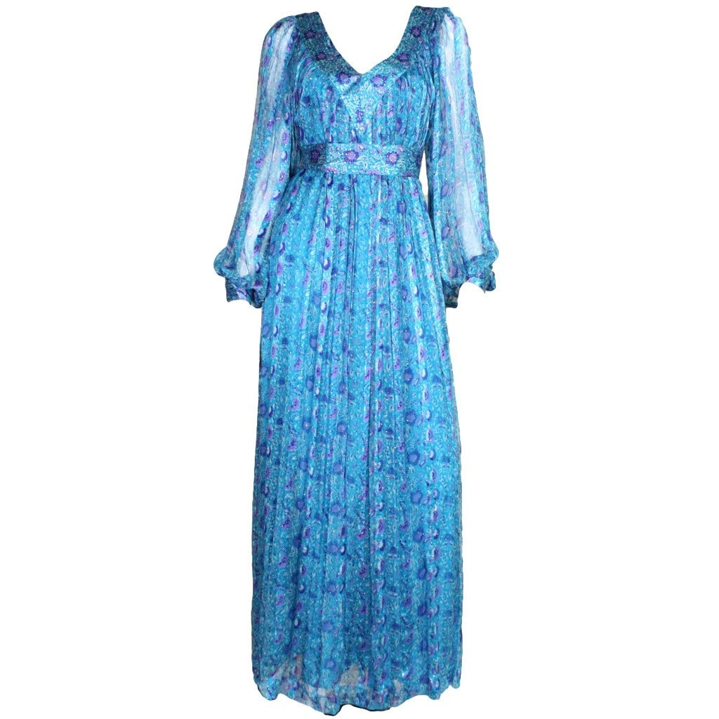Vintage Clothing: 1970's Raksha Turquoise with Floral Print Silk Chiffon Maxi Dress