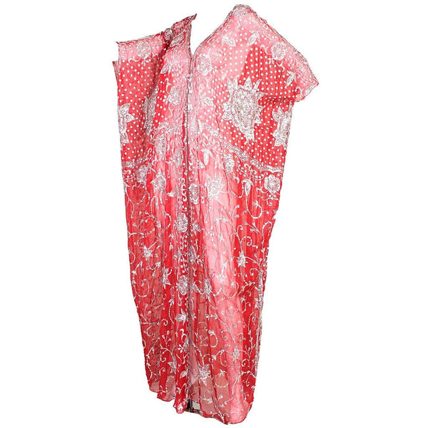 1970's Caftan Red Silk Chiffon Sequined Vintage - regenerationvintageclothing